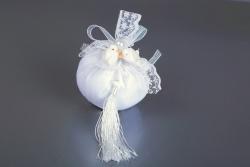 Nikahseker Weißes Lavendelsäckchen mit weißen Tauben Schleife Perle Bohca