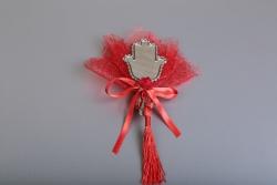 Nikahseker Die Hand Fatimas als Spiegel mit Rotem Tüll für Henna
