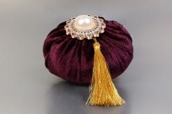 Nikahseker Lavendelsäckchen Lila mit Weissem Stein und gold
