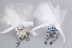 Nikahseker Metall Hufe und Elefant mit Nazarboncugu Tüll und Schleife