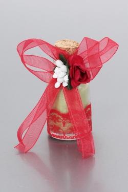 Nikahseker Glasflasche mit Roter Schleife und Rose