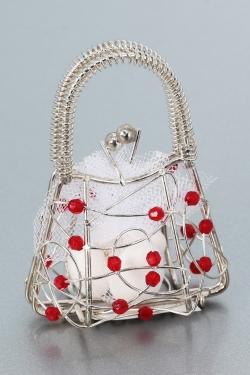 Nikahseker Metalltasche mit roten Perlen