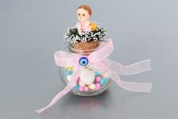 Nikahseker Glasbehälter mit Baby Figur und Schleife Mädchen Geburt