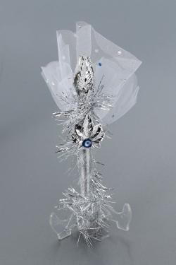 Nikahseker Stab in silber mit tüll und silber Details