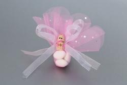 Nikahseker Babyfigur mit rosanem Tüll und schleife Mädchen Geburt