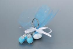 Nikahseker Schlüsselanhänger Babyschuhe in Blau mit Tüll Junge Geburt