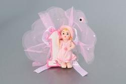 Nikahseker Mädchenfigur mit einer 1 mit Tüll und Schleife