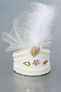 Nikahseker Sünnetsapka in weis mit goldene Details