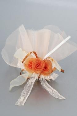 Nikahseker Orange Rosen aus Stoff und Tüll