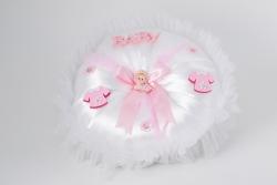 Kissen aus Seide in Weiß mit  und Schleife Mädchen für Geburtsgeschenke