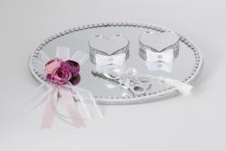 Trauungstablett aus Spiegel mit 3 Rosen beschmückt (defekt)