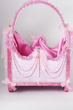 Korb in rosa mit Perlen beschmückt Mädchen Geburt