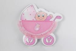 Türschmuck Kinderwagen in rosa Mädchen Geburt