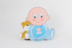 Türschmuck Baby & Teddy in blau Junge Geburt