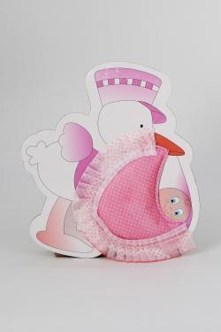 Türschmuck Storch & Baby in rosa MädchenGeburt