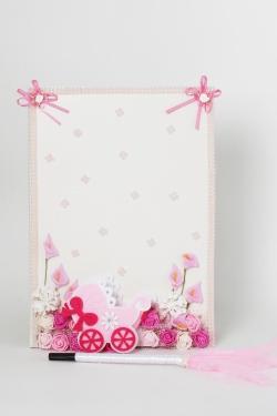 Gästebuch Kinderwagen und schaumrosen in rosa Mädchen Geburt